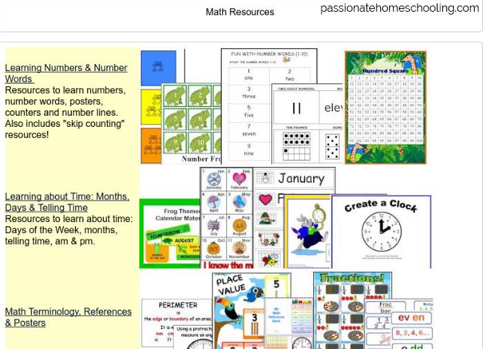 Printable math resources