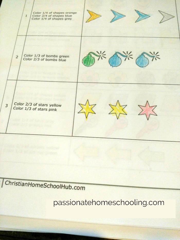 Elementary fractions worksheet