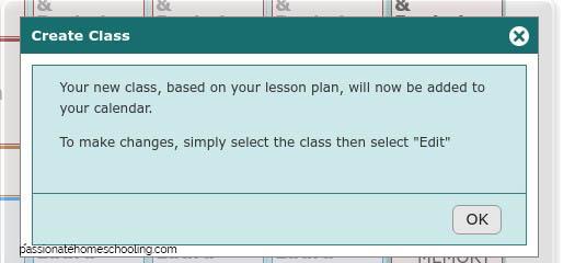 Homeschool Planet Lesson Plans Create Class window