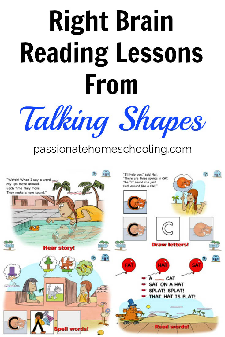 Learn to read with your right brain using Talking Shapes. A wonderful help in our homeschool reading lessons.