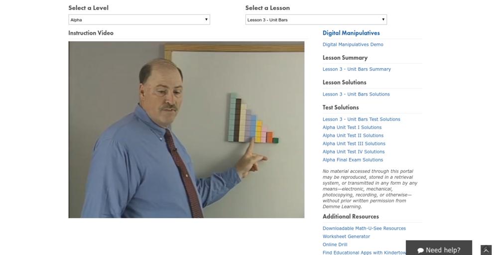 Math U See Alpha Digital Pack Online Class