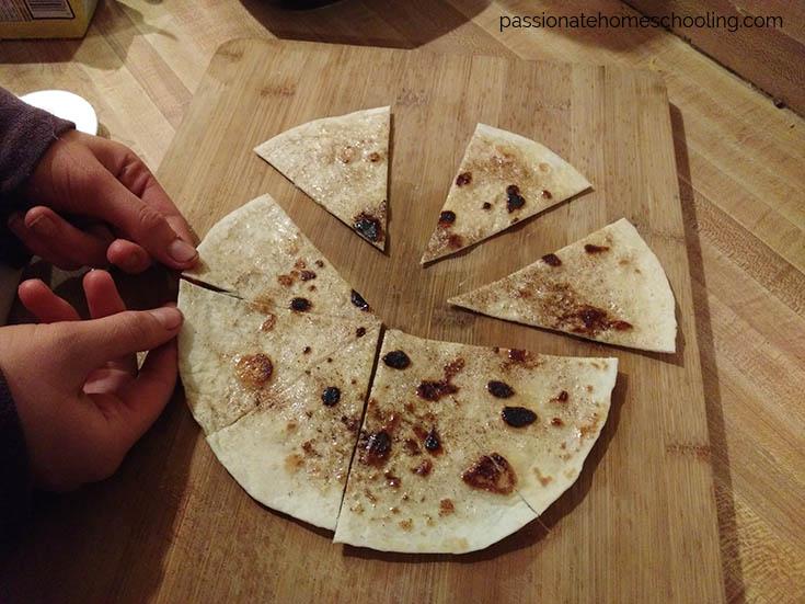 Sliced cinnamon tortillas