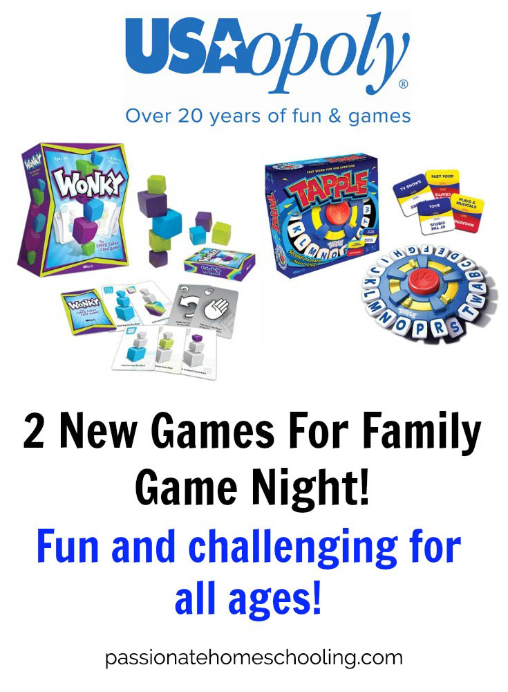 Fun Family Games From USAopoly. 2 new games for family game night. Have fun with Tapple and Wonkey fun and challenging for all ages!