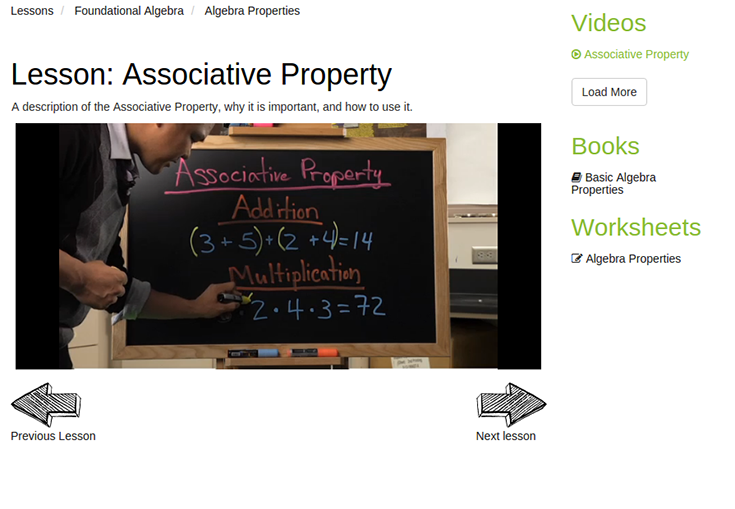 Video Lesson Associative Property