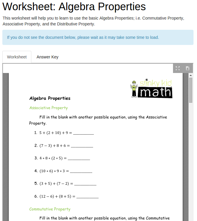 Worksheet Algebra Properties
