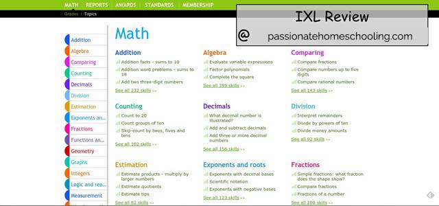 IXL Math Online Menu