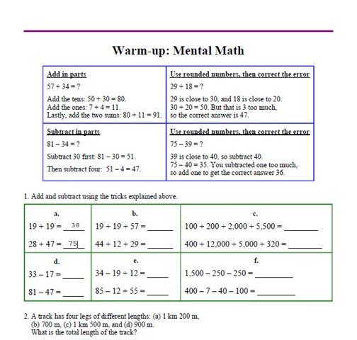 Math Mammoth Worksheet