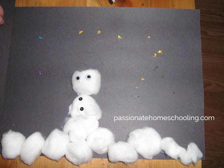 Snowman Cottonball Craft