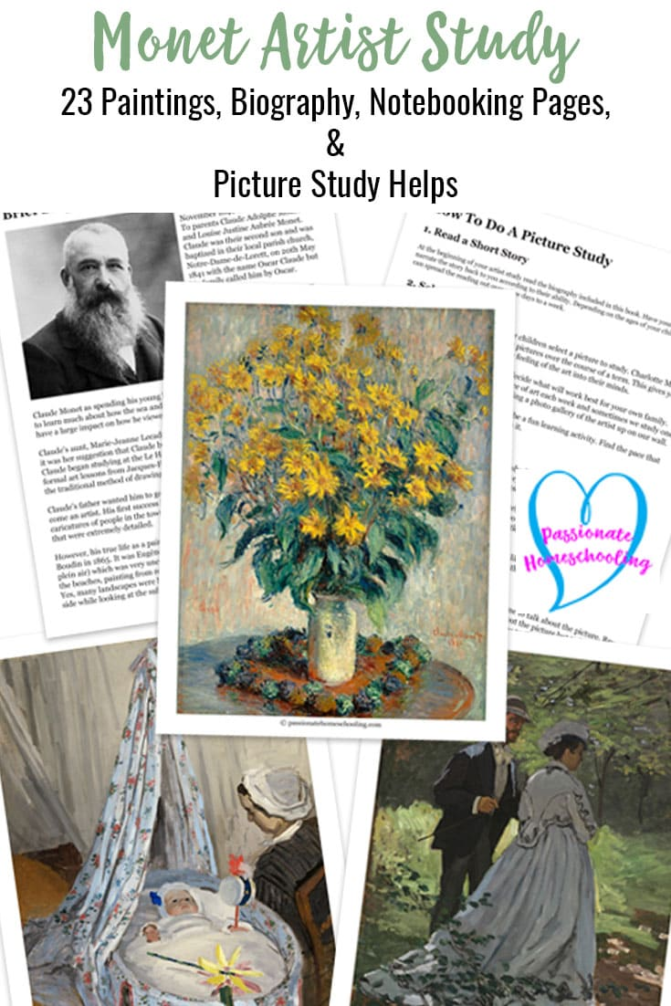 Easy to use Claude Monet artist study perfect for homeschool learning! This art study works great for families who love Charlotte Mason learning, but also unit studies too! Tons of Monet paintings, notebooking pages, and resources. Just print and go!