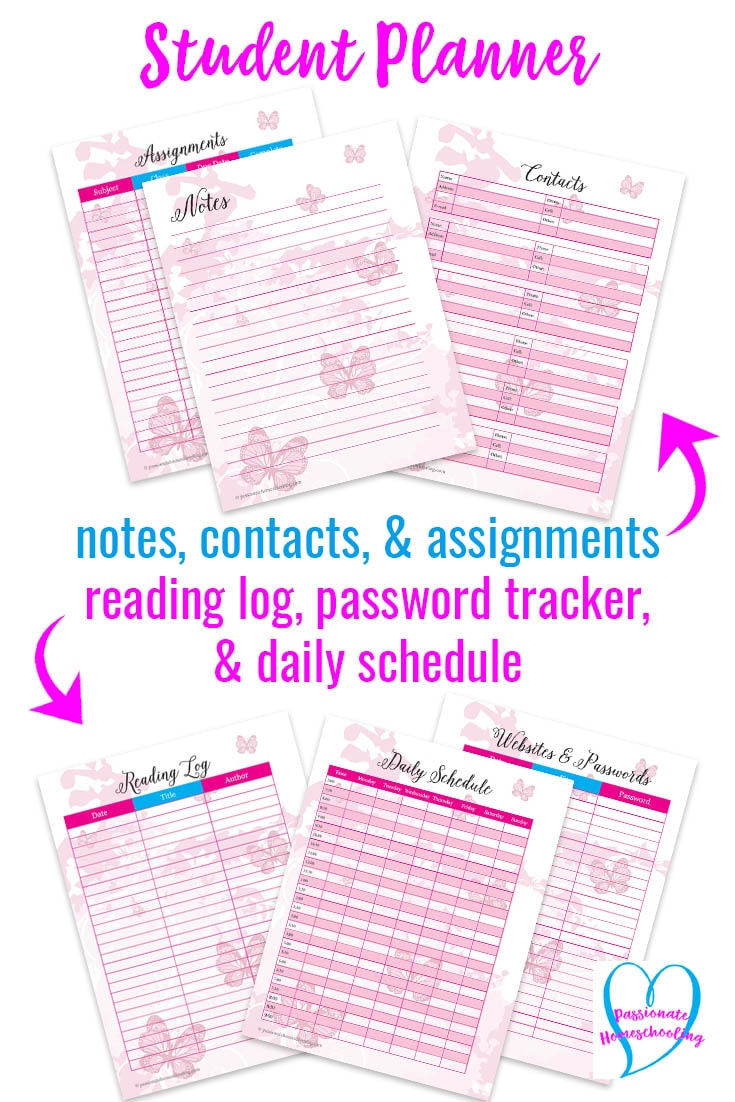 Easy to use printable homeschool student planner! Everything your child needs to organize their school work and home life. If your child loves butterflies they will love this pretty pink butterfly student planner!