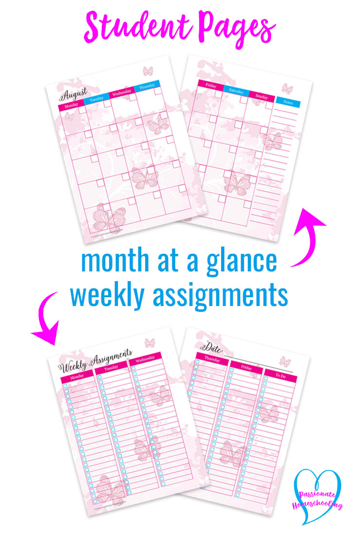 Your kids will love these pretty pink butterflies student planner! It has everything they need to organize their school day and home life. Undated so you can use it year after year and save money on your homeschool budget!
