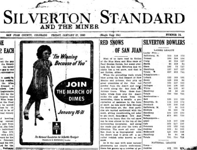 """A newspaper clipping from the January 27, 1950 edition of the """"Silverton Standard"""" with a story about red dust deposits on snow–Taken from the presentation """"Dust in the western US; a history of mineral aerosol deposition to Colorado"""" by Dr. Jason Neff"""