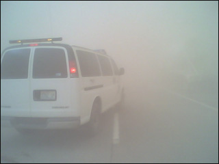 Dust storms greatly reduce visibility leading to highway closures–Courtesy of KXLY-TV, Spokane