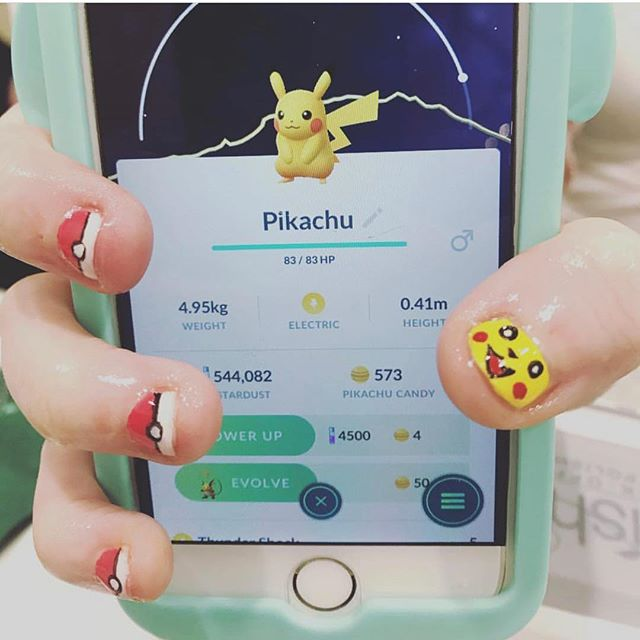 Our Angela loves a challenge! Pokémon go for the win @sugarednails @bioseaweedgel #safenails #chandlersalon #chandlernails #queencreeknails #arizona #pokemon