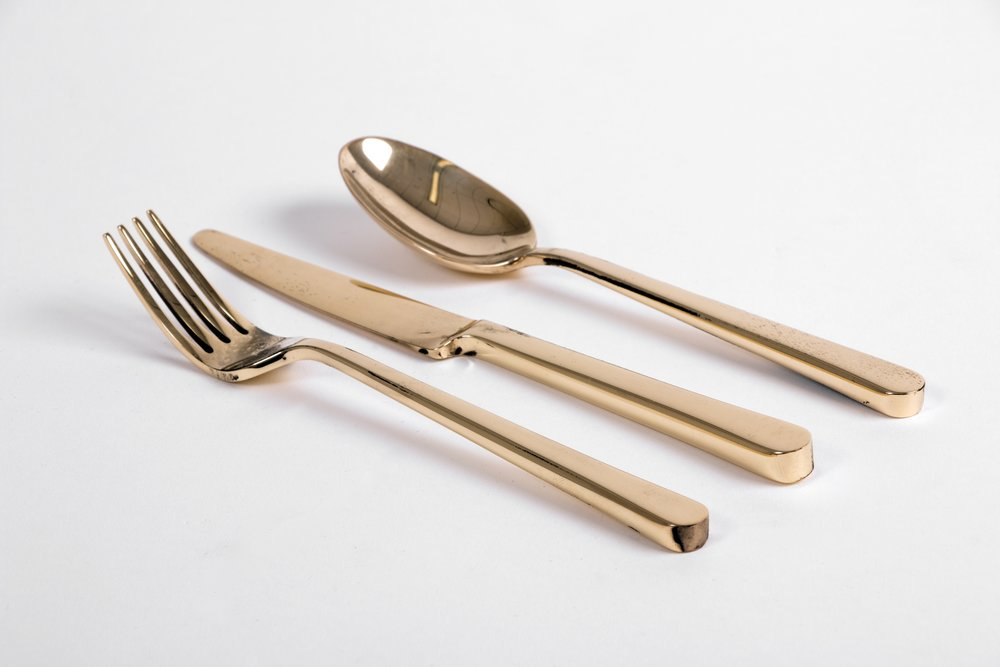 Flatware  | 100% handmade. Cut, hammered, filed and polished flatware prototypes. | Brass, Pre-silver-plating | © Phat Design