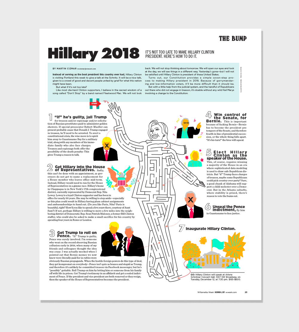 Hillary Maze:  Concept, Layout, Illustrations.  Article here.