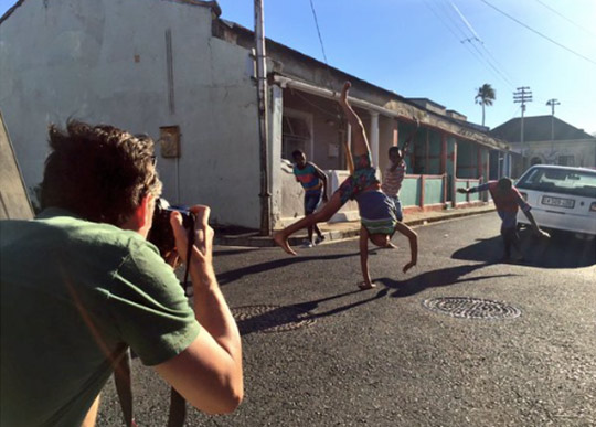 Michael Heffernan shooting on location in Cape Town