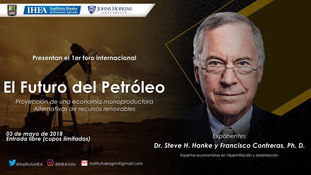 """El futuro del Petróleo - A través de una vídeo conferencia, el doctor Steve Hanke, experto en modelos económicos de países en crisis, habló acerca del escenario venezolano. El experto en materia petrolera predijo que la OPEP iba a perder peso. También proyectó la baja de los precios del petróleo. Ahora estima que para finales de 2018 el crudo puede superar los 75 dólares por barril. Durante su ponencia, manifestó que """"PDVSA tiene la tasa de agotamiento más baja del mundo y una tasa de producción de 0,35 %, es decir, 1 % por año"""". Hanke, asegura que a la estatal venezolana le toma un promedio de 199 años en extraer un barril de petróleo.""""El letargo y atraso de PDVSA implican que sus reservas tienen un valor de cero"""", afirmó Steve Hanke. Esta afirmación la sustenta que en la lentitud con la cual se viene explotando el crudo venezolano. Insistió que privatizar PDVSA de manera inmediata sería la solución más viable para que el pueblo venezolano pueda beneficiarse realmente de la estatal, pues en la actualidad el flujo de caja de la empresa tiene saldos negativos."""