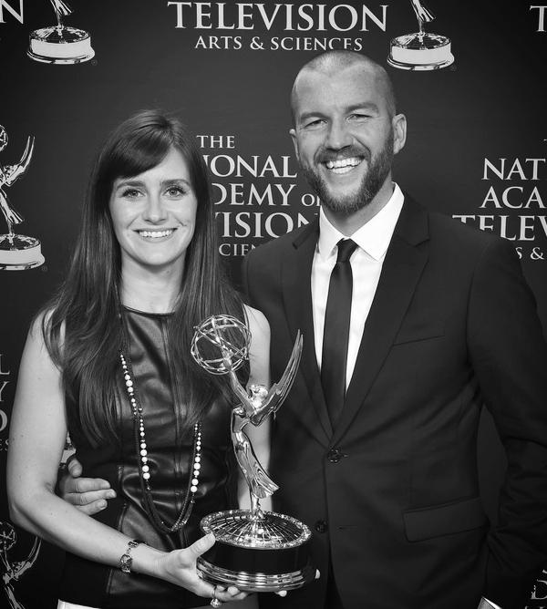 Elaine McMillion Sheldon and Curren Sheldon at 2018 News & Documentary Emmy Awards