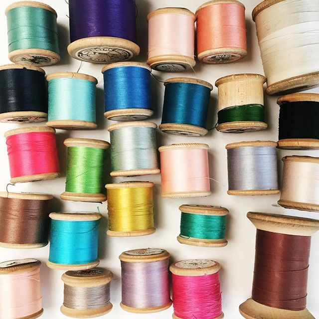 We crafty types all have something that we just can't help but collect. For no good reason other than because they are just so flippin nice to look at. Mine are these vintage cottons on wooden spools. And scissors. Gimme all the scissors ✂️. What's your thing? #craft #craftsupplies #collections #vintage #vintagecotton