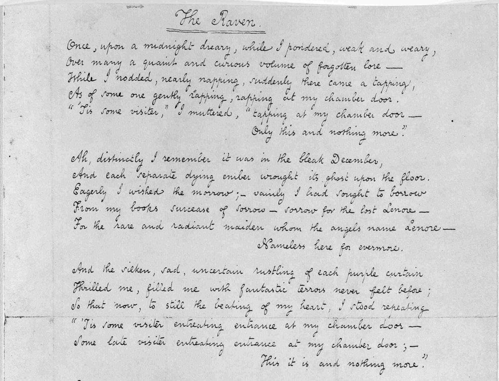 Part of Poe's original manuscript for The Raven