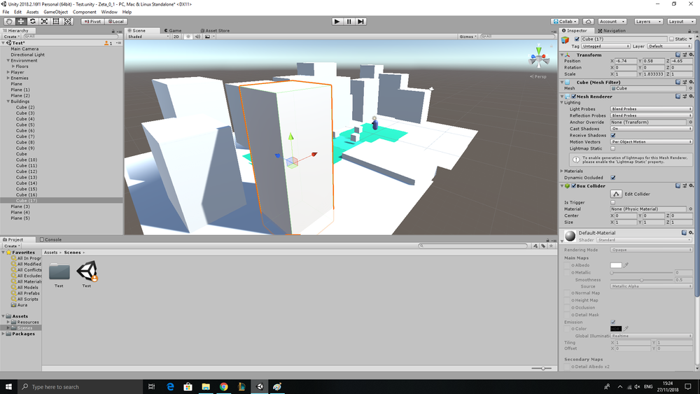 Positioning the Buildings and Floors in Unity.
