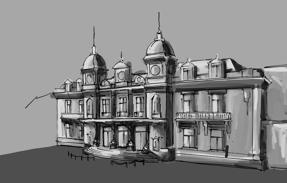 Architectural Study of the Monte Carlo Casino. Some of its elements and prestigious ornaments are likely to feature in Zeta's preferred casino.