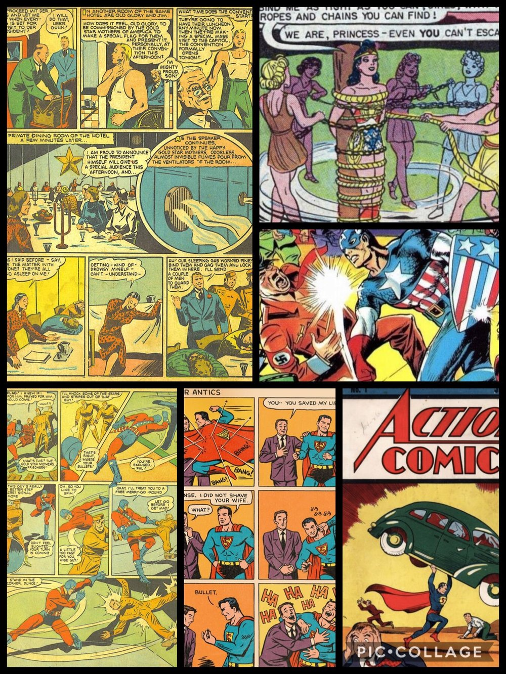 Examples of Golden Age comic book panels.