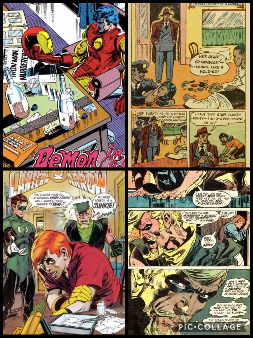 Examples of Bronze Age comic book panels.