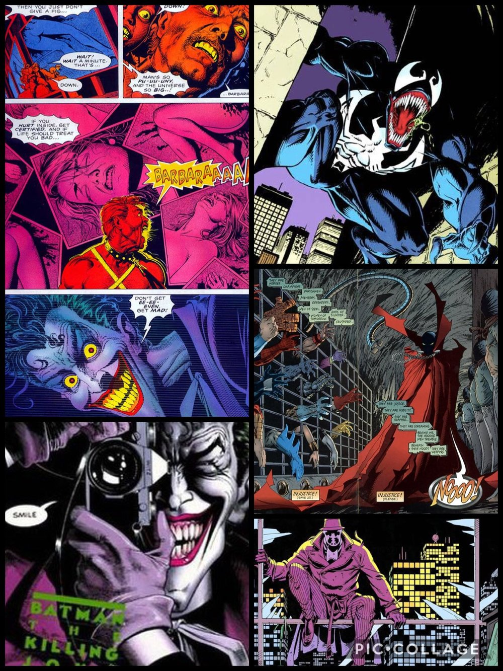 Examples of Dark Age comic book panels.
