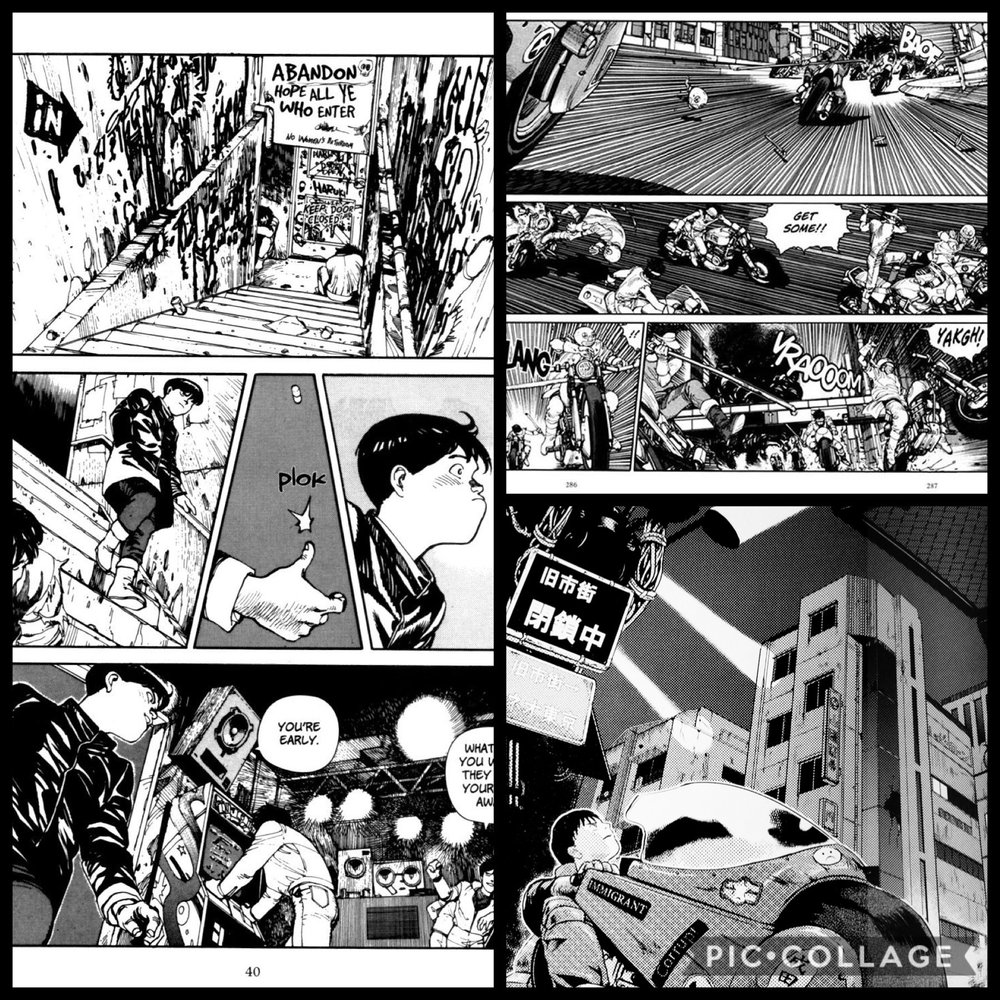 Perspective shots and panels from Akira.
