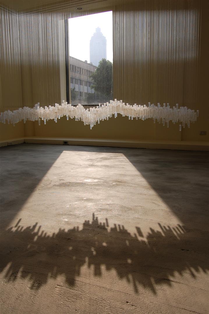 """emptysign #5  - Taipei Artist Village, Taiwan, 2008 / gallery installation  plastic bottles, water, monofilament, acrylic  48 x 60 12"""""""