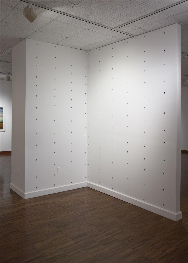Stud Finder  - wall installation - Weston Art Gallery, Cincinnati, 2012  magnets, steel wool  dimensions variable