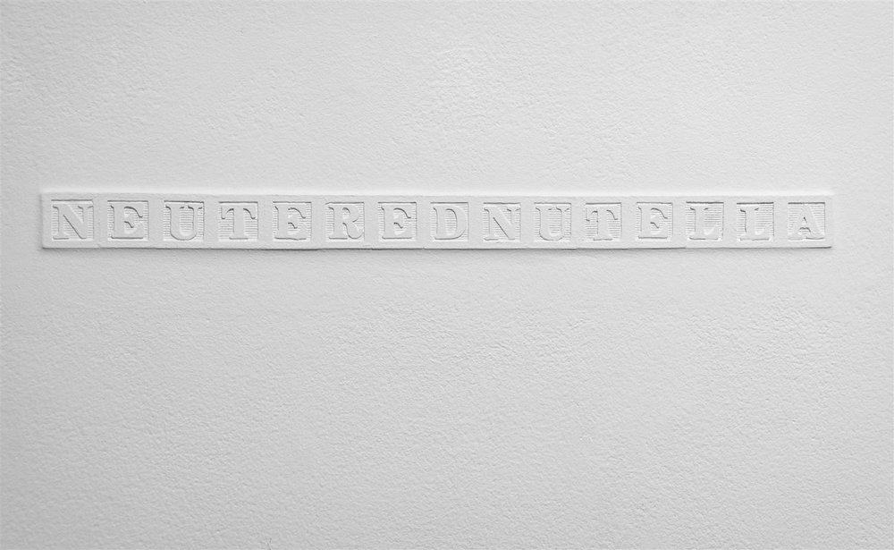 "NEUTEREDNUTELLA   Alphabet blocks embedded in drywall, wall paint  1¼ x 17¾""/ 2012"