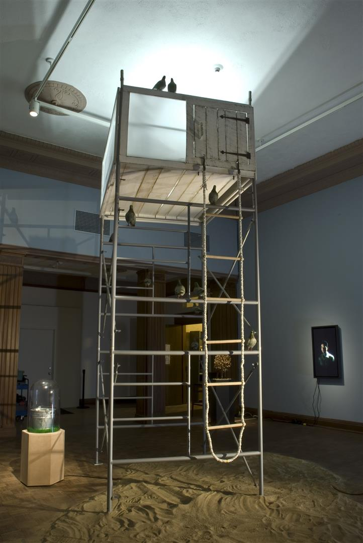 "Tree House (aka 5730)   scaffolding, wood & acrylic tree house, fluorescent light unit, rope ladder, motors, electronics, sand, digital media player, sound recording- 1 minute continuous loop every 3 minutes, speakers, flood lights theater light on stand  168 x 60 x 72"" / 2007  overall dimensions variable"
