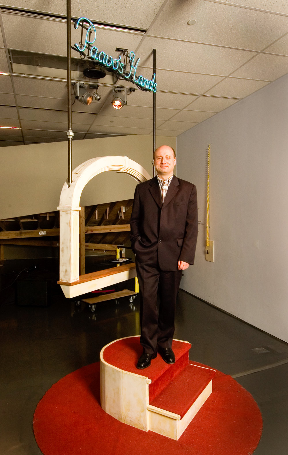 Paavo's Hands  (photographed with Paavo Järvi - music director / conductor of the Cincinnati Symphony Orchestra, 2001-2011)  wood, sensors, computer, neon  8 x 4 x 3' / 2003