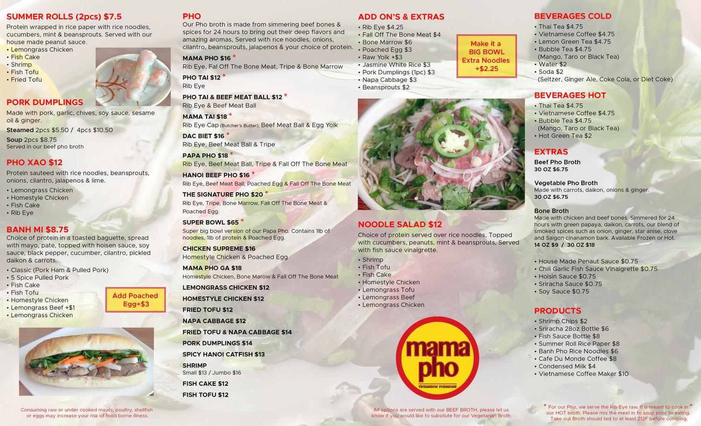 MENU & ORDER ONLINE — Mama Pho NYC
