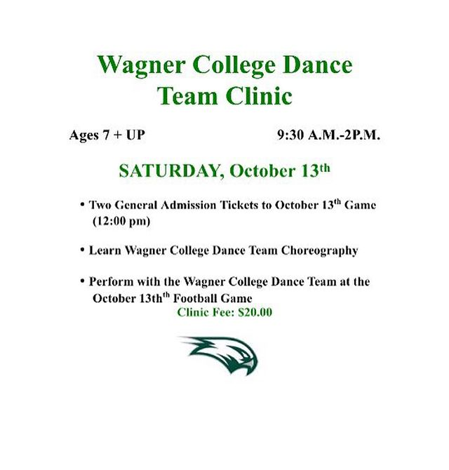 Join the Wagner College Dance Team, home to 3 RCDC alumni, for a clinic on Saturday 10/13 from 9:30am-2pm! 💚🖤#wagnercollege #rcdcnation #statenislanddance