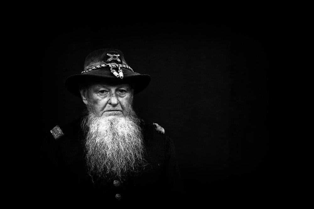 Ken Snook, 85, of Union County, dressed as a 1st Lieutenant from the Civil War during the special screening of the season two  preview of 'Mercy Street' at the WVIA studio in Pittston, Pa.