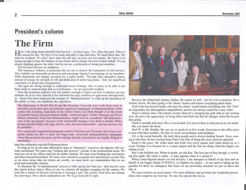 Karen Koehler, president of WSAJ in 2007 writes a profile of the firm -