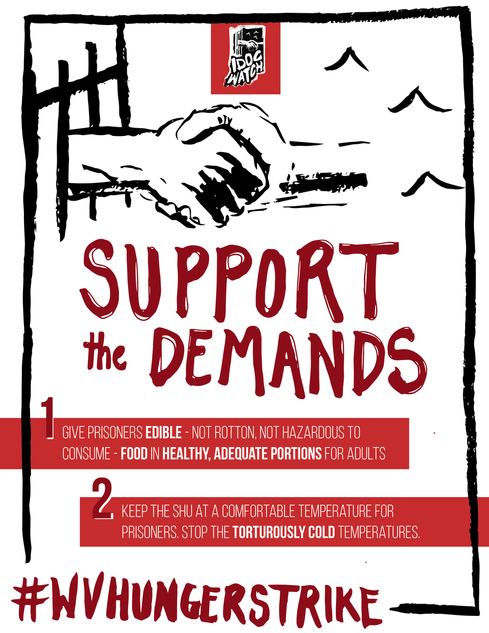 A graphic highlighting the demands of striking prisoners at Wabash Valley during the 2018 Prison Strike.