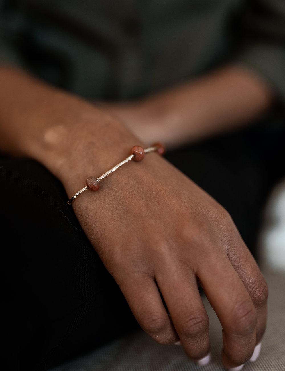 Roman Bead Fossilized Coral Bracelet  - $150