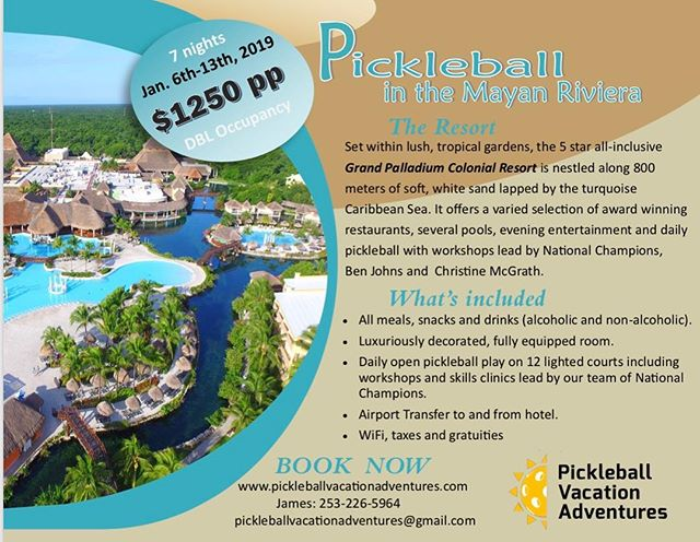 Update to the January 2019 Mayan Riviera flyer with our new WEBSITE!! yassss! 👏🙀Sign up now on the site! Costa Rica December 2018 is Sold out so you don't want to miss this one! #pickleball  #pickleballvacationadventures #pickleballislife  #pickleballvacation #mayanriviera #grandpalladiumrivieramaya #pva