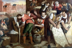 Wool trade, particularly weaving of Kersey cloth, was a  major industry in 1600's Yorkshire, England.