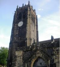 The Tower of St. John the Baptist Church, Halifax parish, Yorkshire, England