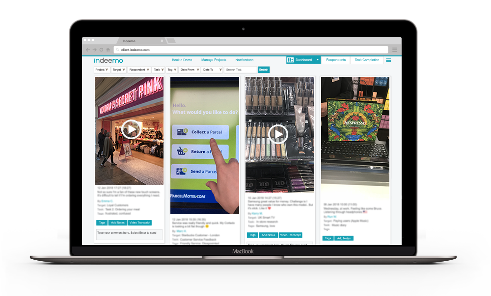 mobile ethnography dashboard for shopper research