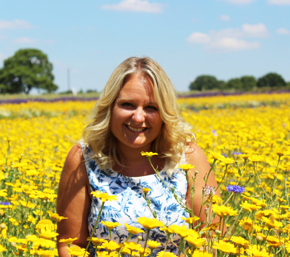 Kelly Rideout in the Lavender and flower fields in Hampshire UK.