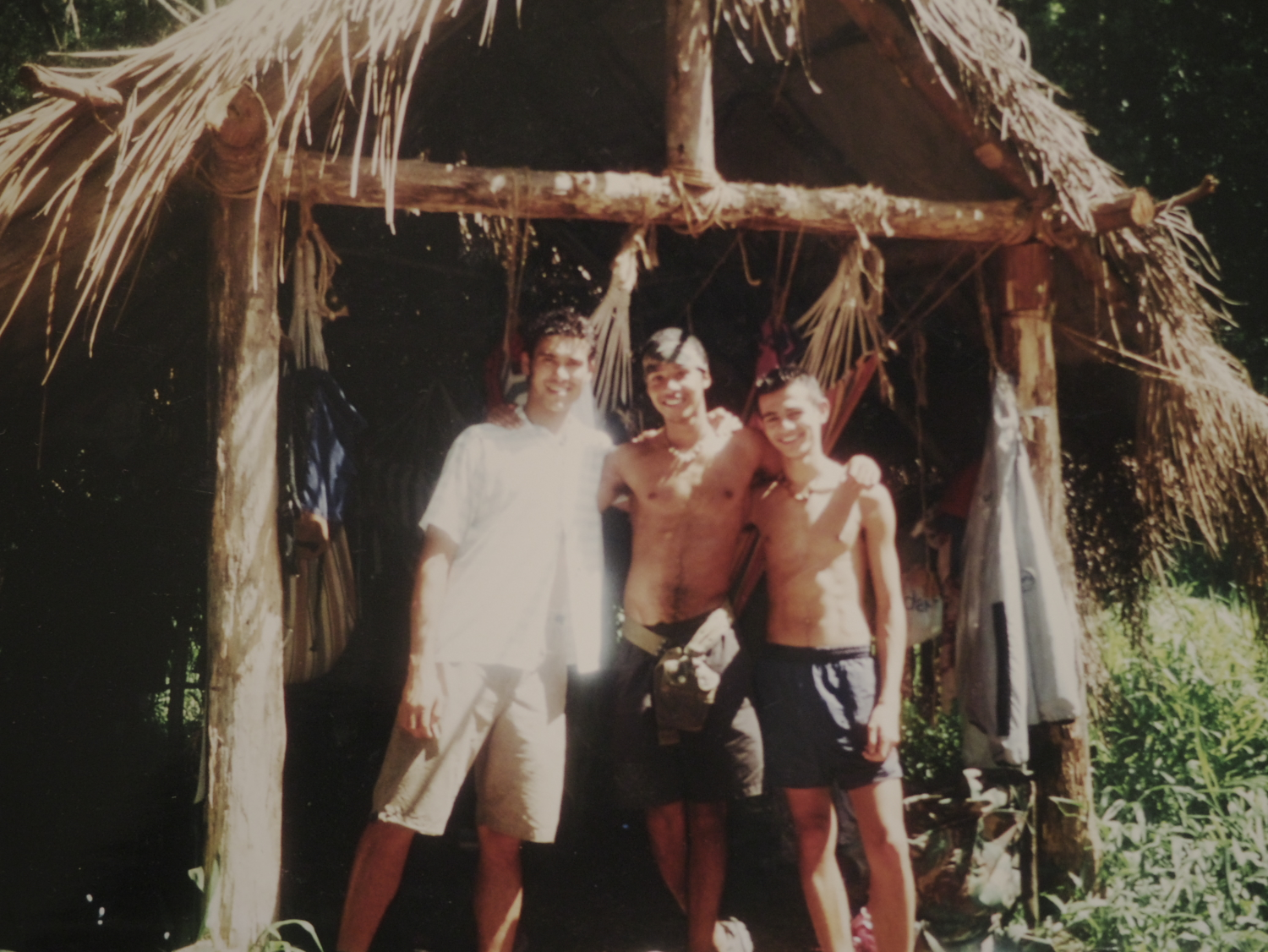 The three original male Edenites, Rav, me and Westley outside our sleeping quarters