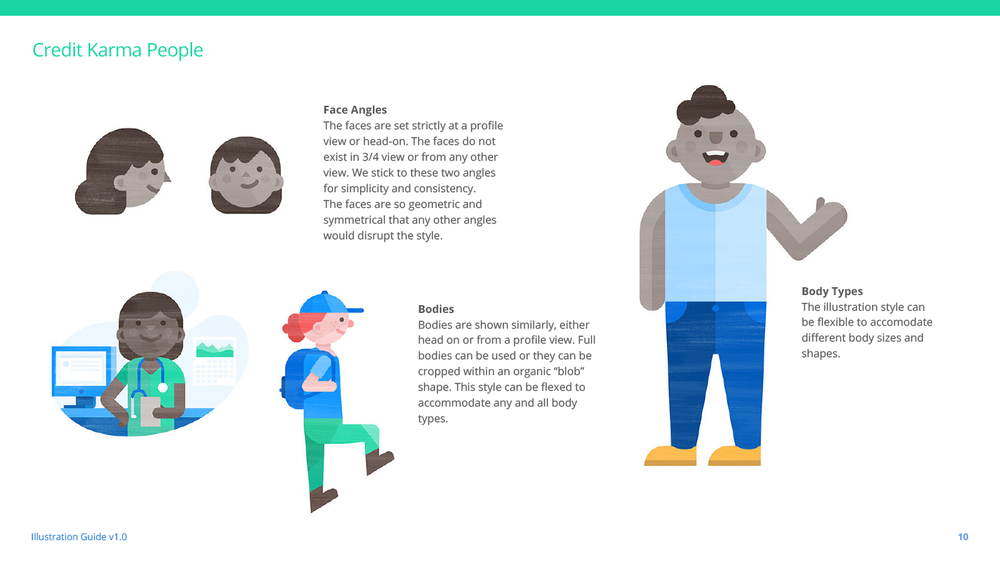 """A page from Putnam Studio's documentation for  Credit Karma , an example of phase five, the """"Illustration Legacy."""" Sourced from  Illustration Identities Are Our Thing , by Ryan Putnam."""
