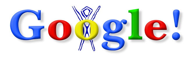 """The first Google Doodle , intended as an """"out of office"""" message while founders Sergey Brin & Larry Page were off at Burning Man"""